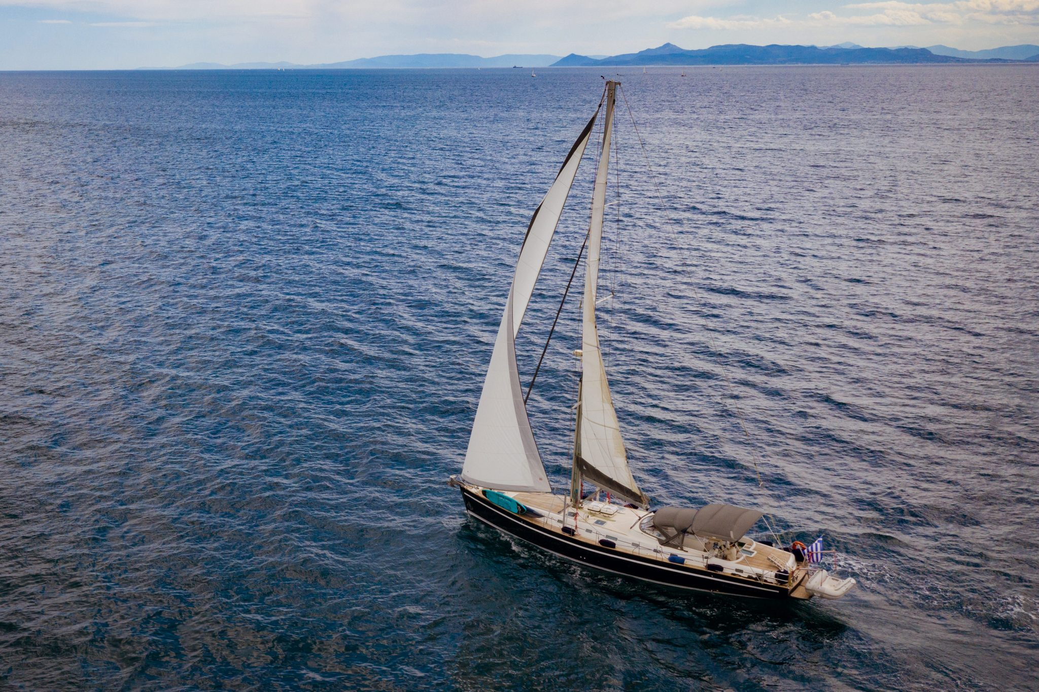 large sailing yacht in cyclades