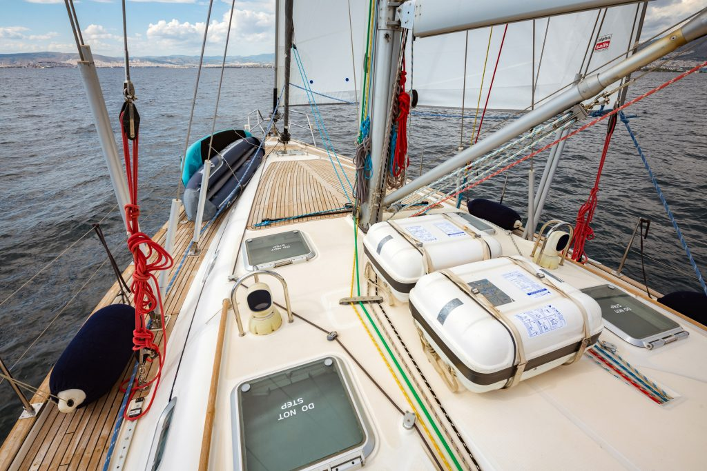 water toys on sailing yacht in greece