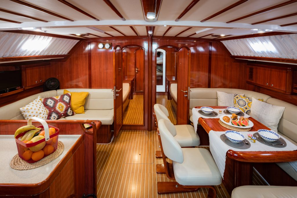 wooden interior of sailing yacht for 12 guests