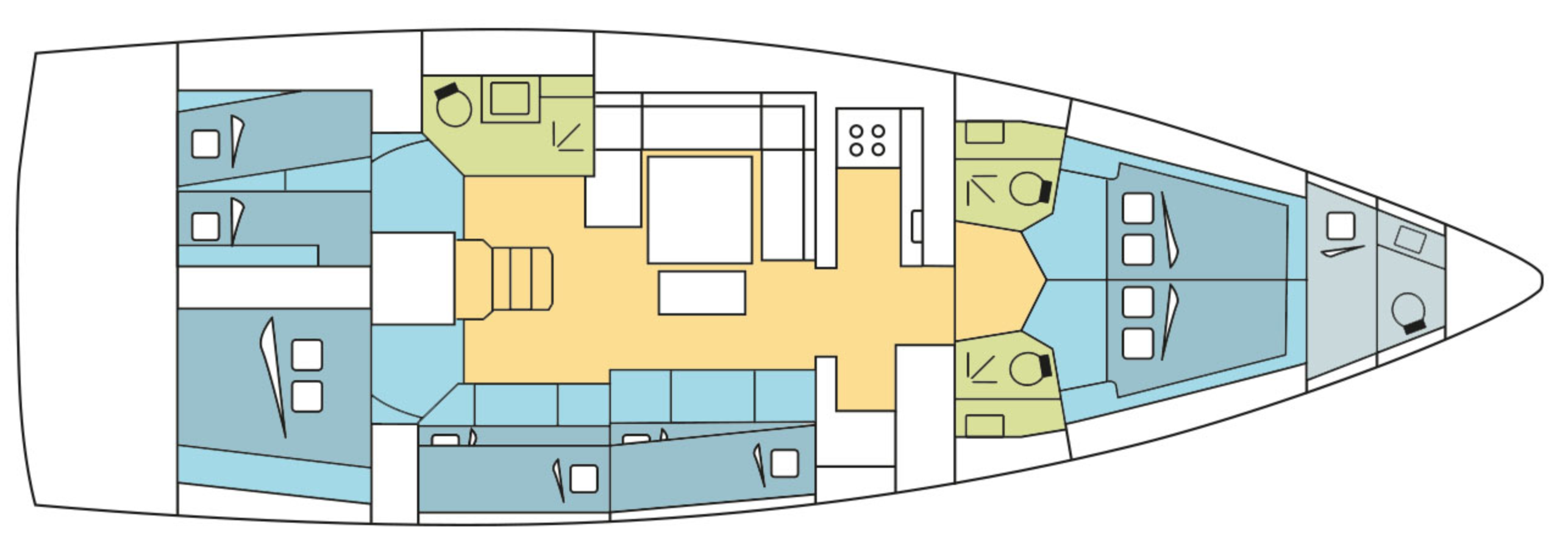 dufour 530 7 cabins layout